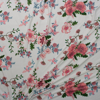 Pink, Green, and Teal Scrolling Floral on Offwhite Double Brushed Poly Spandex Knit Fabric By The Yard - Wide shot