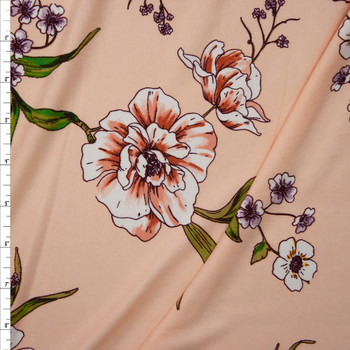 Green, Rose, Purple, and Yellow Flowering Branch on Peach Double Brushed Poly Spandex Knit Fabric By The Yard