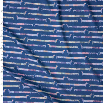 Patchwork Daschunds on Navy Marketa Double Brushed Poly Spandex Knit Fabric By The Yard