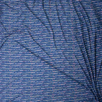 Patchwork Daschunds on Navy Marketa Double Brushed Poly Spandex Knit Fabric By The Yard - Wide shot