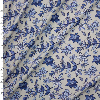 Blue Floral on Light Grey Marketa Double Brushed Poly Spandex Knit Fabric By The Yard