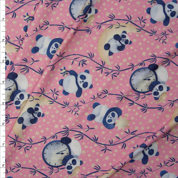 Sleepytime Pandas Light Pink Marketa Double Brushed Poly Spandex Knit Fabric By The Yard