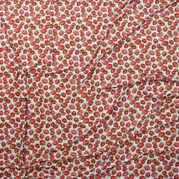 Strawberries on Warm White Marketa Double Brushed Poly Spandex Knit Fabric By The Yard - Wide shot