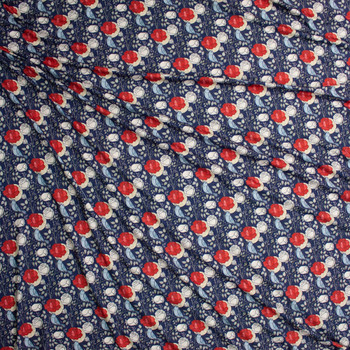 Roses and Bluebirds on Navy Marketa Double Brushed Poly Spandex Knit Fabric By The Yard - Wide shot