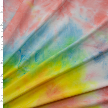 Pink, Blue, and Yellow Tie Dye Double Brushed Poly Spandex Knit Fabric By The Yard