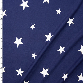 White on Navy Stars Double Brushed Poly Spandex Knit Fabric By The Yard