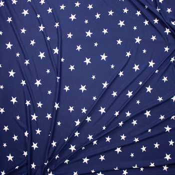 White on Navy Stars Double Brushed Poly Spandex Knit Fabric By The Yard - Wide shot
