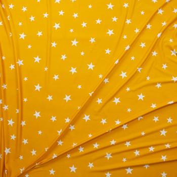 White on Mustard Stars Double Brushed Poly Spandex Knit Fabric By The Yard - Wide shot