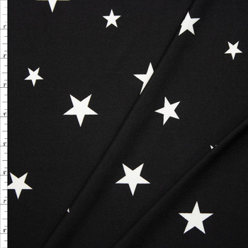 White on Black Stars Double Brushed Poly Spandex Knit Fabric By The Yard