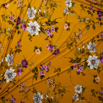 White, Olive, and Plum Floral on Mustard Double Brushed Poly Spandex Knit Fabric By The Yard - Wide shot