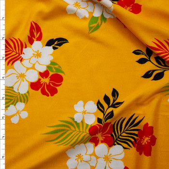 White, Red, Black, and Green Hawaiian Floral on Yellow Double Brushed Poly Spandex Knit Fabric By The Yard