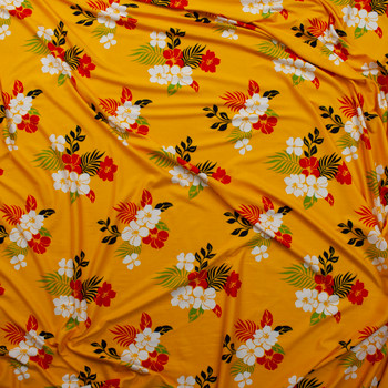 White, Red, Black, and Green Hawaiian Floral on Yellow Double Brushed Poly Spandex Knit Fabric By The Yard - Wide shot