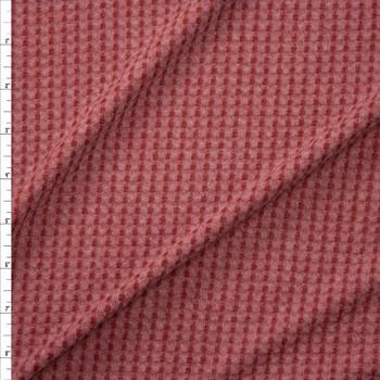 Wine on Mauve Horizontal Stripe Brushed Soft Waffle Knit Fabric By The Yard