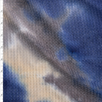 Navy, Charcoal, and Ivory Tie Dye Soft Waffle Knit Fabric By The Yard