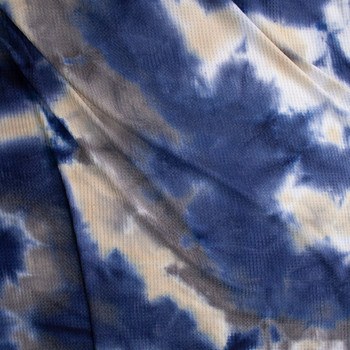 Navy, Charcoal, and Ivory Tie Dye Soft Waffle Knit Fabric By The Yard - Wide shot
