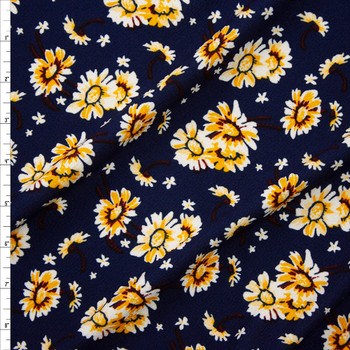 White and Yellow Daisies on Navy Crepe Liverpool Knit Fabric By The Yard