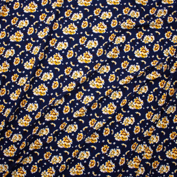 White and Yellow Daisies on Navy Crepe Liverpool Knit Fabric By The Yard - Wide shot