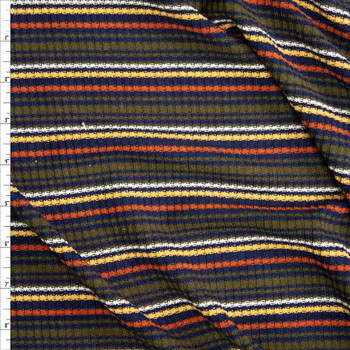 Olive, Orange, Yellow, Black, and White Stripe Midweight Ribbed Sweater Knit Fabric By The Yard