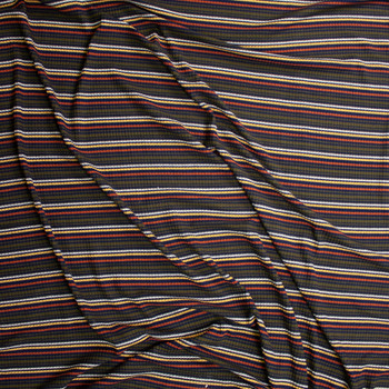 Olive, Orange, Yellow, Black, and White Stripe Midweight Ribbed Sweater Knit Fabric By The Yard - Wide shot