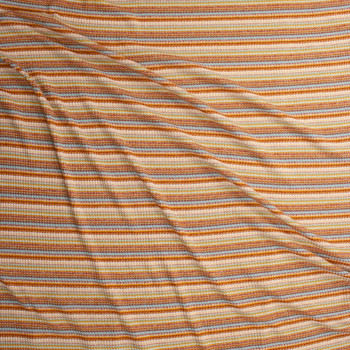 Rust, Peach, Aqua, and Ivory Horizontal Stripe Midweight Ribbed Sweater Knit Fabric By The Yard - Wide shot