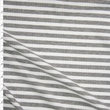 Grey and White Horizontal Stripe Midweight Rib Knit Fabric By The Yard
