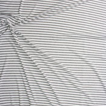 Grey and White Horizontal Stripe Midweight Rib Knit Fabric By The Yard - Wide shot