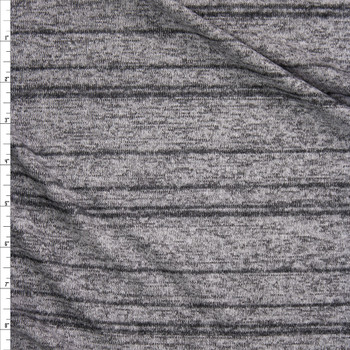 Charcoal Stripe on Heather Grey Soft Stretch Brushed Sweater Knit Fabric By The Yard