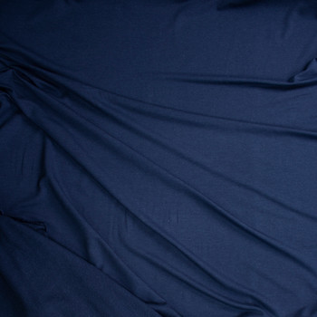 Navy Stretch Cotton French Terry Fabric By The Yard - Wide shot