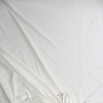White Stretch Cotton French Terry Fabric By The Yard - Wide shot