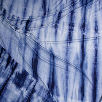 Navy and Grey Streaked Tie Dye Lightweight Rayon French Terry Fabric By The Yard - Wide shot