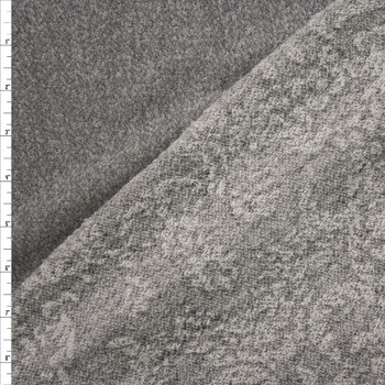 Grey French Terry With Floral Embossed Loops Fabric By The Yard