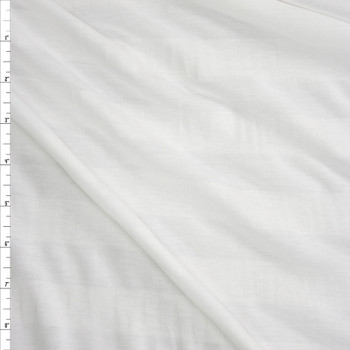 White on White Horizontal Stripe Lightweight Jersey Knit Fabric By The Yard