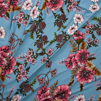 Pink, Green, and Tan Hibiscus Floral on Light Blue Double Brushed Poly/Spandex Knit Fabric By The Yard - Wide shot