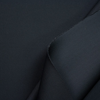 Black Perforated Texture Double Scuba Knit Fabric By The Yard - Wide shot
