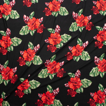 Red Hibiscus Floral on Black Double Bushed Poly/Spandex Fabric By The Yard - Wide shot