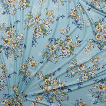 Scrolling Yellow and Green Floral on Aqua Double Bushed Poly/Spandex Fabric By The Yard - Wide shot