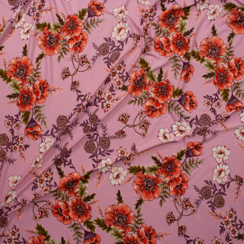 Scrolling Orange, Plum, and Green Floral on Pink Double Bushed Poly/Spandex Fabric By The Yard - Wide shot