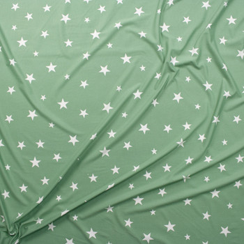 White Stars on Sage Double Bushed Poly/Spandex Fabric By The Yard - Wide shot