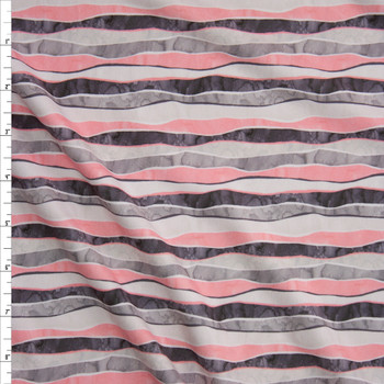 Pink and Grey Wavy Watercolor Stripe Designer Double Brushed Poly from Marketa Stengl Fabric By The Yard