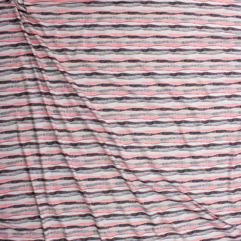 Pink and Grey Wavy Watercolor Stripe Designer Double Brushed Poly from Marketa Stengl Fabric By The Yard - Wide shot