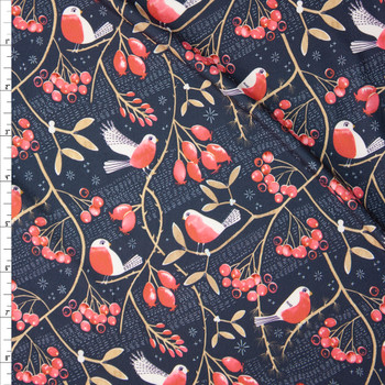 Robins and Vines on Charcoal Designer Double Brushed Poly from Marketa Stengl Fabric By The Yard