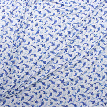 Blue Koi on White Designer Double Brushed Poly from Marketa Stengl Fabric By The Yard - Wide shot