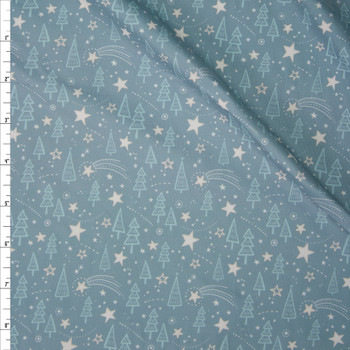Holy Night Aqua Designer Double Brushed Poly from Marketa Stengl Fabric By The Yard