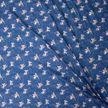 Nurse Mice on Teal Designer Double Brushed Poly from Marketa Stengl Fabric By The Yard - Wide shot