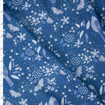 Light Blue Birds and Butterflies on Slate Designer Double Brushed Poly from Marketa Stengl Fabric By The Yard
