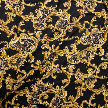 Cheetah and Gold Scrollwork on Black Double Bushed Poly/Spandex Fabric By The Yard - Wide shot