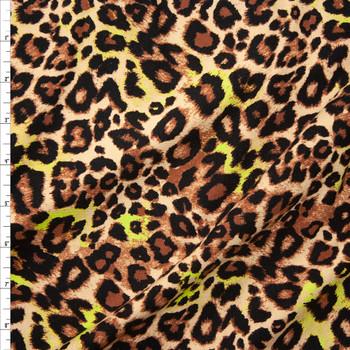 Tan and Yellow Cheetah Print Lightweight Designer Sweatshirt Fleece Fabric By The Yard