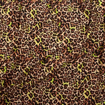 Tan and Yellow Cheetah Print Lightweight Designer Sweatshirt Fleece Fabric By The Yard - Wide shot