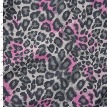 Pink and Grey Cheetah Print Lightweight Designer Sweatshirt Fleece Fabric By The Yard
