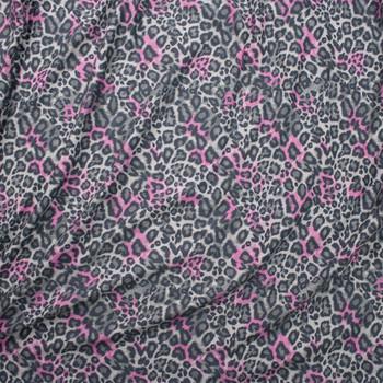 Pink and Grey Cheetah Print Lightweight Designer Sweatshirt Fleece Fabric By The Yard - Wide shot